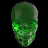 Le skul brillant brillant en verre foncé rendent d'isolement sur la vue de côté de fond noir Photographie stock libre de droits