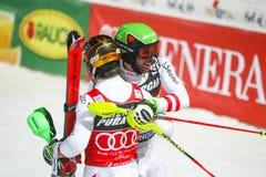 Le slalom des hommes de coupe du monde d'Audi FIS fonctionnent en second lieu Photo stock