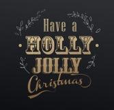Le slogan manuscrit de Noël 'ont Noël gai de houx' illustration libre de droits