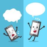 Le smartphone de bande dessinée exprimant différentes émotions avec la parole bouillonne Photos libres de droits
