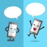 Le smartphone de bande dessinée exprimant différentes émotions avec le discours blanc bouillonne Images libres de droits