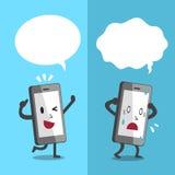 Le smartphone de bande dessinée exprimant différentes émotions avec le discours blanc bouillonne Image stock