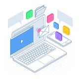 Le smartphone mobile isométrique entretient le concept de nuage Stratégies pour le marketing d'arrivée, SEO, media social, conten illustration stock