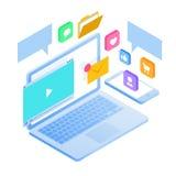 Le smartphone mobile isométrique entretient le concept de nuage Stratégies pour le marketing d'arrivée, SEO, media social, conten Image libre de droits