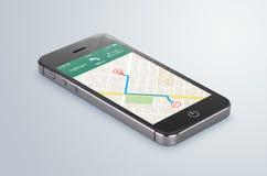 Le smartphone mobile noir avec la navigation APP de généralistes de carte se trouve sur Photo stock