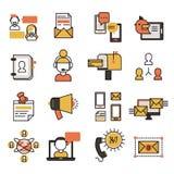 Le social de technologie d'icônes de contact du réseau de transmission et de site Web d'affaires de media communiquent l'illustra illustration libre de droits