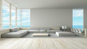 Le sofa en bois de plancher de salon intérieur moderne a placé le rendu de l'été 3d de vue de mer illustration de vecteur