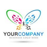 Le soin coloré de mode de vie de station thermale de beauté de papillon détendent l'icône de logo d'ailes d'abrégé sur yoga sur l illustration libre de droits