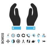 Le soin remet l'icône plate de Glyph avec la bonification Photographie stock