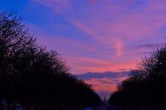 Le soir où le soleil est vers le bas photo libre de droits