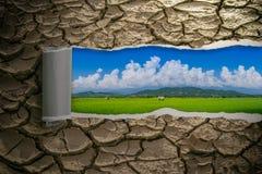 Le sol sec sur le papier déchiré et un champ sur l'intérieur Amour de concept le monde Images stock