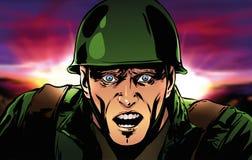 Le soldat crie dans la crainte Photographie stock