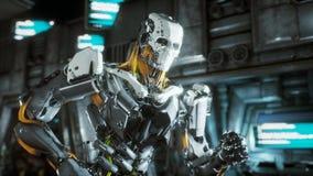 Le soldat de robot court par un tunnel futuriste de la science fiction avec les étincelles et la fumée, vue intérieure rendu 3d illustration libre de droits