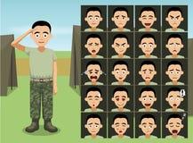 Le soldat militaire Cartoon Emotion de tenue de détente fait face illustration libre de droits