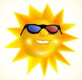 Le soleil à la mode génial portant les lunettes 3d Images libres de droits