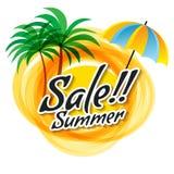 Le soleil abstrait jaune avec le texte de vente d'été Palmiers Photos libres de droits