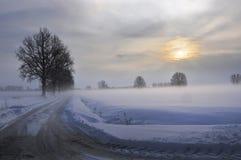 Le soleil après la tempête de neige Photo stock