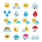 Le soleil, arc-en-ciel, lune, pluie et nuage mignons - Kawaii, icônes de Manga Photographie stock libre de droits