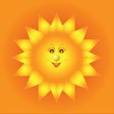 Le soleil ardent abstrait sur le fond orange Photos libres de droits