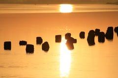 Le soleil au-dessus du lac. Images libres de droits