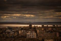 Le soleil au-dessus du Volga images stock