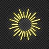 Le soleil au néon de vecteur, brillent l'icône, calibre rougeoyant jaune d'éclat illustration libre de droits