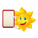 Le soleil aux yeux bleus avec le conseil de démonstration Photographie stock
