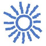 Le soleil avec les panneaux solaires Images libres de droits