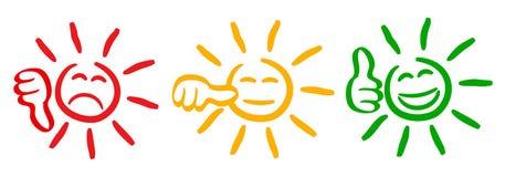 Le soleil coloré par trois avec des pouces d'évaluation, émotion réglée, le soleil d'émoticônes de bande dessinée - pour des acti illustration libre de droits