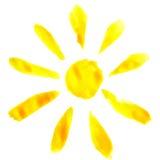 Le soleil d'aquarelle Image stock