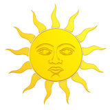 Le soleil d'or avec le visage 3d Images libres de droits