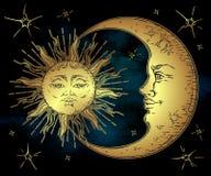 Le soleil d'or, croissant de lune et étoiles d'art tiré par la main antique de style au-dessus de ciel de noir bleu Vecteur chic  Image stock
