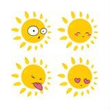 Le soleil de bande dessinée Images libres de droits