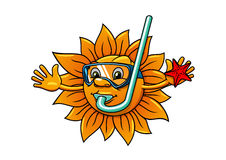 Le soleil de bande dessinée dans le masque de plongée avec des étoiles de mer Images libres de droits