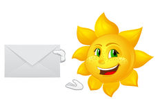 Le soleil de bande dessinée de facteur avec le courrier Photos libres de droits