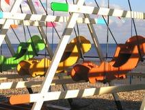 Le soleil de bord de la mer d'automne Photographie stock