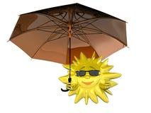 Le soleil de dessin animé avec le parapluie illustration libre de droits