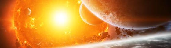 Le soleil de explosion dans l'espace près des éléments de rendu de la planète 3D de illustration stock