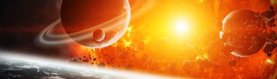 Le soleil de explosion dans l'espace près des éléments de rendu de la planète 3D de illustration de vecteur