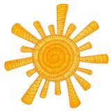 Le soleil de griffonnage Images libres de droits