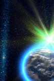 Le soleil de la terre de planète photographie stock libre de droits