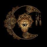 Le soleil de lune d'alchimie illustration libre de droits