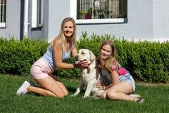 Le soleil de maison de parc d'été d'herbe d'animal familier de fille de mère de chien de Labrador riant l'été blond de nourrisson Image stock