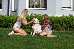 Le soleil de maison de parc d'été d'herbe d'animal familier de fille de mère de chien de Labrador riant l'été blond de nourrisson Photographie stock