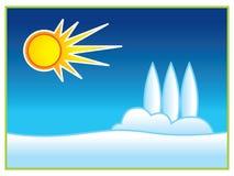 le soleil de neige Images libres de droits