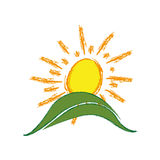 le soleil de peinture de couleur avec l'icône de montagne Photo libre de droits