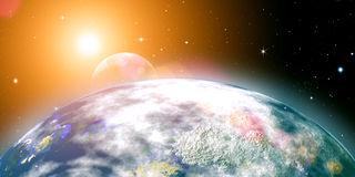 Le soleil de Risins au-dessus de la terre de planète Photos stock
