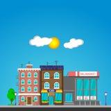 le soleil de rue de paysage de ville de jour Image libre de droits