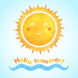 Le soleil de sourire de vecteur d'aquarelle avec la vague de mer illustration libre de droits
