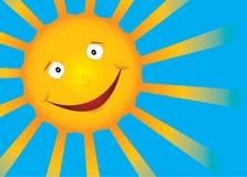 Le soleil de sourire de vecteur sur le ciel bleu Photo stock